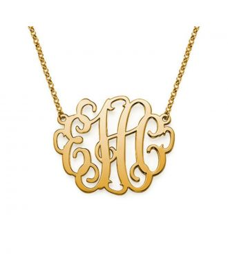 Customized Sterling Silver 925 / Copper Monogram 3 Initial Necklace in Cursive