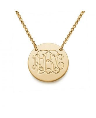 Custom Copper / Sterling Silver 925 Monogram 3 Initial Disc Pendant Necklace