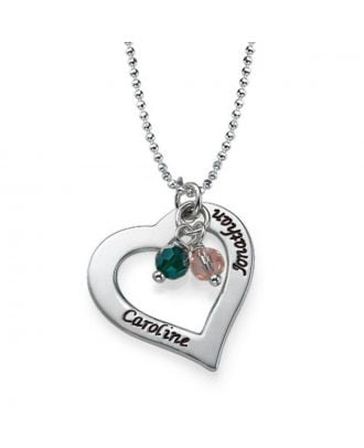 Custom Made Copper / Sterling Silver 925 Engraved Heart Necklace With Birthstone