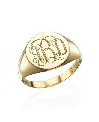 Brugerdefineret kobber / sterling sølv 925 indgraveret monogram initial ring