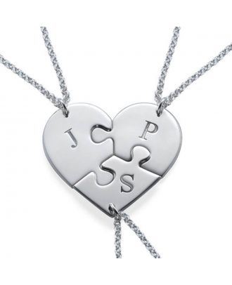 Personalised Sterling Silver 925 / Copper Monogram Initial Best Friends Heart Necklace