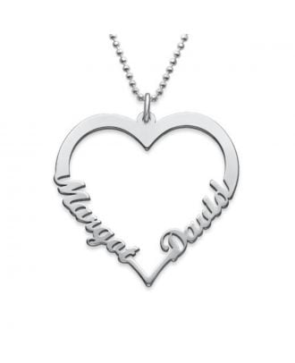 Colar personalizada do nome do coração do cobre / prata 925