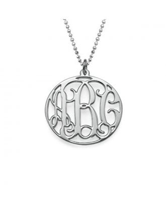 Customized Sterling Silver 925 / Copper Monogram 3 Initial Disc Necklace