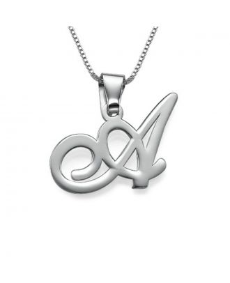 Custom Sterling Silver 925 / Copper 1 Initial Pendant Necklace