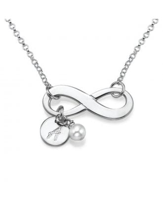 Custom Sterling Silver 925 / Copper Engraved Infinity Necklace With Birthstone