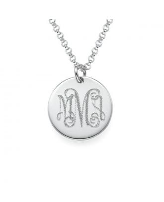 Personalised Sterling Silver 925 / Copper Engraved Initial Necklace