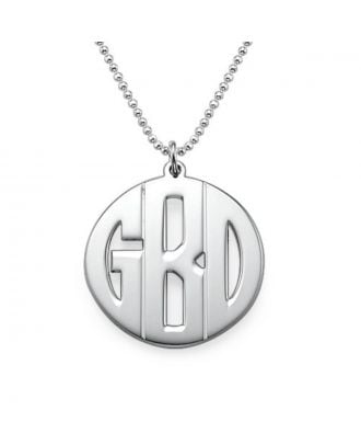 Personalized Sterling Silver 925 / Copper Monogram Initial Disc Necklace