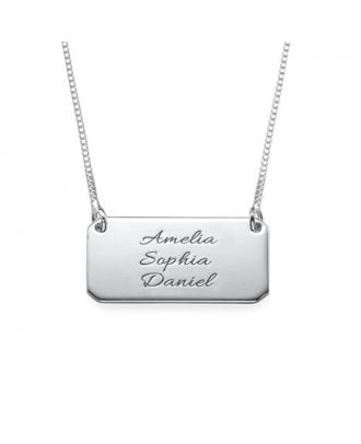 Prata esterlina feita sob encomenda 925 / colar gravada cobre da barra com 3 nomes