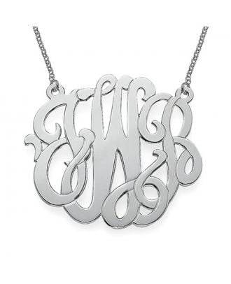 Personalised Sterling Silver 925 / Copper Monogram Initial Pendant Necklace