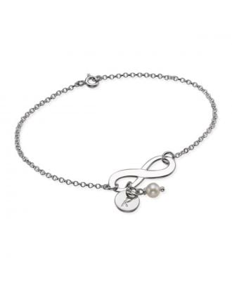 Custom Made Sterling Silver 925 / Copper Engraved Necklaces Infinity Bracelet With Birthstone