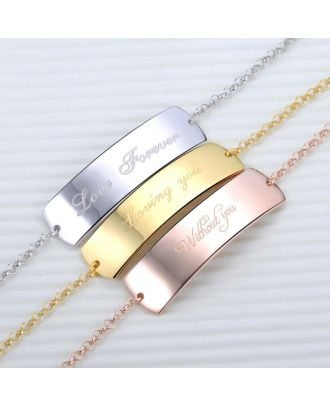 Custom Sterling Silver 925 / Copper Bar Engraved Bracelet