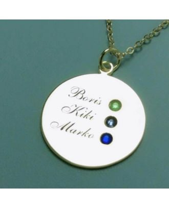 Custom Made Sterling Silver 925 Engraved Heart Family Necklace With 3 Birthstones