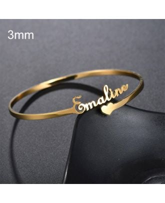 Customized Gold / White Gold / Rose Gold Plated Heart Name Bracelet