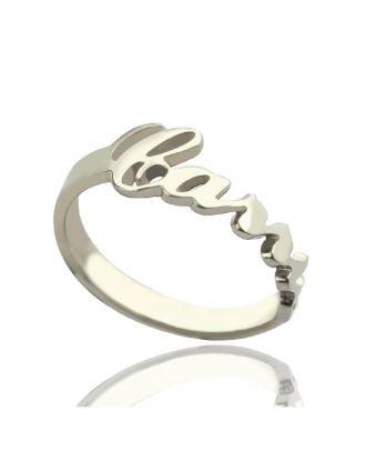 Anel de prata 925 personalizado com nome de promessa