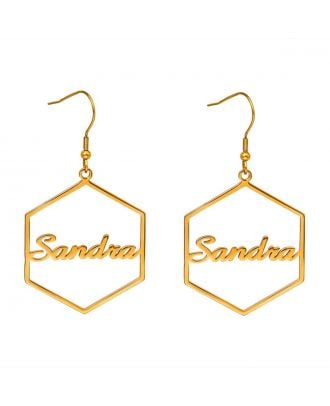 Custom Made Gold / Silver / Rose Gold Plated Hexagon Name Earrings