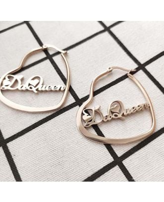 Personalized Made Gold / Silver / Rose Gold Plated Heart Name Earrings