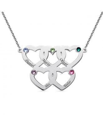 Personalised Sterling Silver 925 Family Engraved Five Hearts Necklace With Birthstone