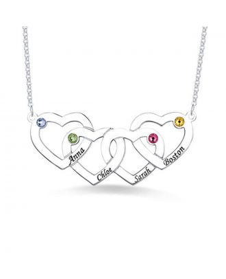 Personalised Sterling Silver 925 Family Engraved Four Hearts Necklace With Birthstone