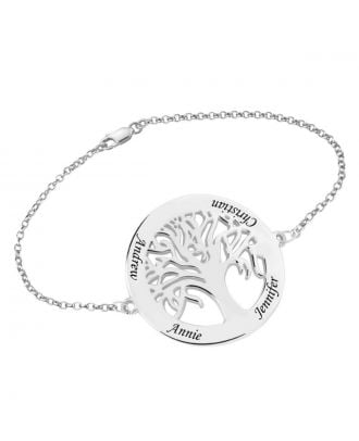 Customized Sterling Silver 925 Family Bracelet With 4 Names