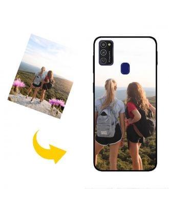 Mittatilaustyönä Samsung Galaxy M21 Puhelinlaukku omilla valokuvillasi, teksteillä, suunnittelulla jne.