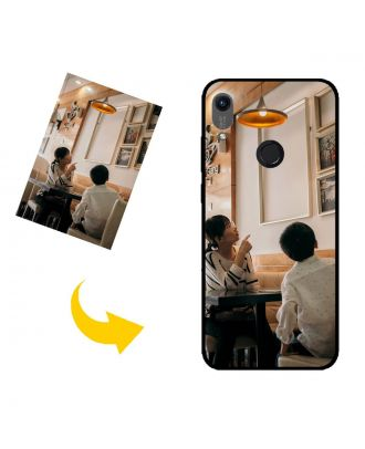 Mittatilaustyönä tehty HUAWEI Y6 (2019) puhelinkotelo, jossa on omat valokuvat, tekstit, suunnittelu jne.