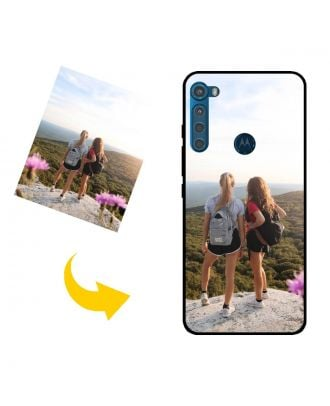 Mukautettu Motorola One Fusion+ puhelinkotelo, jossa on oma suunnittelu, valokuvat, tekstit jne.