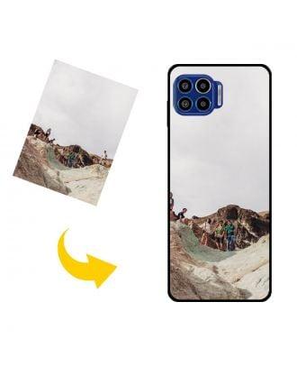 Mittatilaustyönä tehty Motorola One 5G UW puhelinkotelo valokuvillesi, teksteillesi, suunnittelulle jne