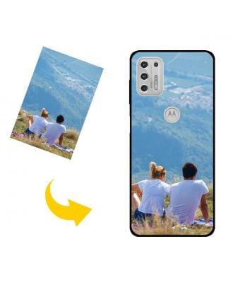 Henkilökohtainen Motorola Moto G Stylus (2021) puhelinkotelo, jossa on valokuvia, tekstejä, muotoilua jne.