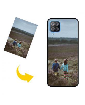 写真、テキスト、デザインなどが入ったパーソナライズされたSamsung Galaxy F12電話ケース