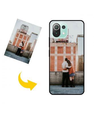 写真、テキスト、デザインなどが入ったカスタムメイドのXiaomi Mi 11 Lite電話ケース