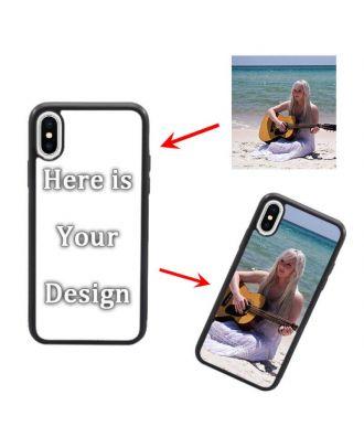 Quadro macio branco / preto personalizado para iPhone X e capa de telefone traseira dura com seu próprio design, fotos, textos, etc.