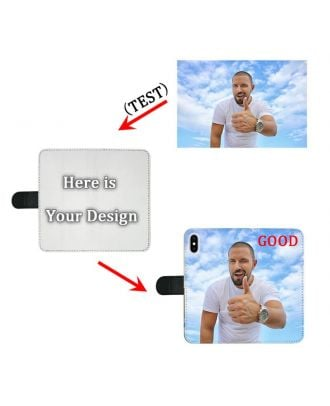 Customized iPhone X Black Full Printed Wallet Phone Case with Your Photos, Texts, Design, etc.
