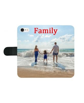 Personalized iPhone 7 / 8 Black Full Printed Wallet Phone Case with Your Own Photos, Texts, Design, etc.