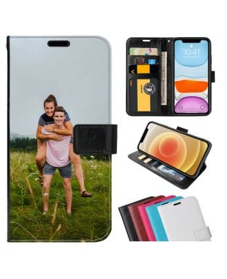 Tilpasset LG K40 Leather Flip Wallet Phone Case with Your Photos, Texts, Design, etc.
