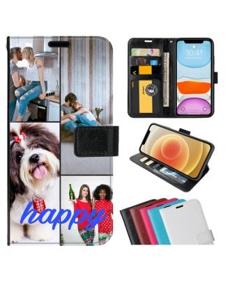 Tilpasset Motorola Moto G10 Power Leather Flip Wallet Phone Case with Your Photos, Texts, Design, etc.