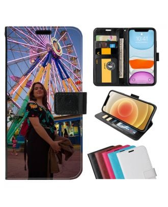 Skreddersydd Alcatel 3x (2019) Leather Flip Wallet Phone Case with Your Own Photos, Texts, Design, etc.