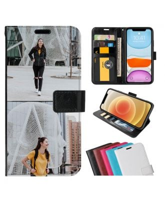 Tilpasset Alcatel 1S (2020) Leather Flip Wallet Phone Case with Your Own Photos, Texts, Design, etc.