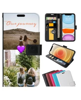 Skreddersydd HONOR Play 3e Leather Flip Wallet Phone Case with Your Photos, Texts, Design, etc.