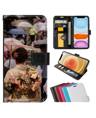 Tilpasset LG W10 Leather Flip Wallet Phone Case with Your Own Photos, Texts, Design, etc.
